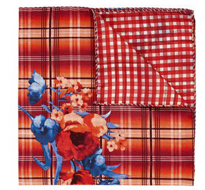 Red Plaid & Floral Pocket Square