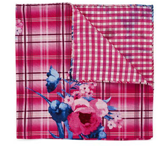 Pink Plaid & Floral Pocket Square
