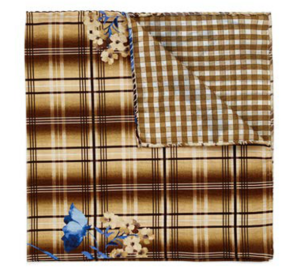 Brown Plaid & Floral Pocket Square