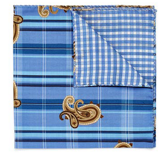 Brown Paisley on Blue Plaid Pocket Square