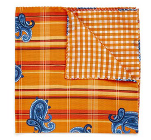 Blue Paisley on Orange Plaid Pocket Square