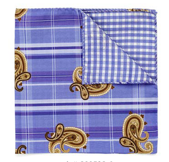Brown Paisley on Dark Blue Plaid Pocket Square