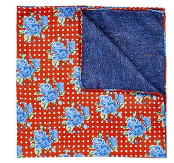 Blue Bouquet Pocket Square