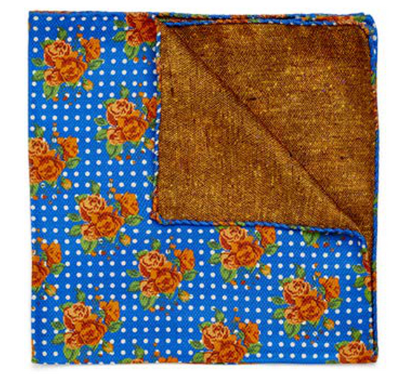 Orange Bouquet on Blue Pocket Square