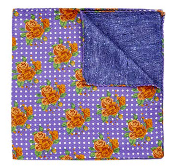 Orange Bouquet on Purple Pocket Square