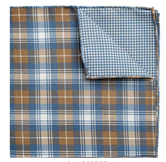Blue Brown Plaid & Houndstooth Pocket Square