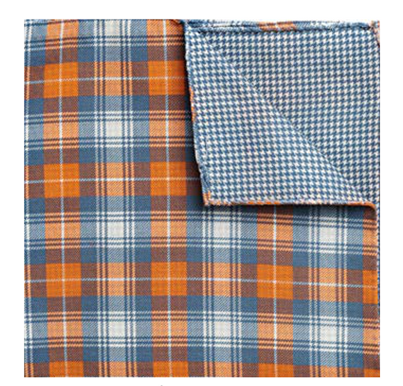 Blue & Orange Plaid & Houndstooth Pocket Square