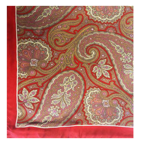 Red Paisley with Border Pocket Square