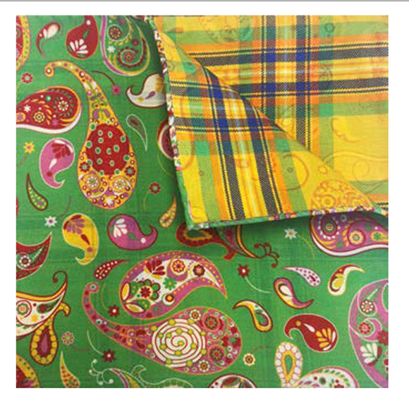 Green with Multicolor Paisley Pocket Square