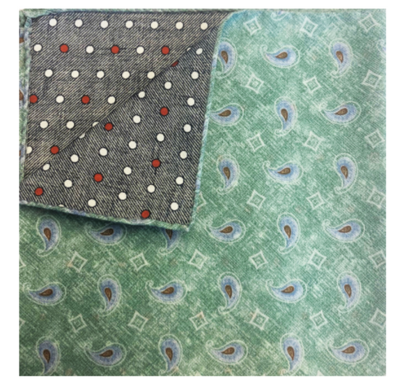 Mint & Gray Paisley Pocket Square