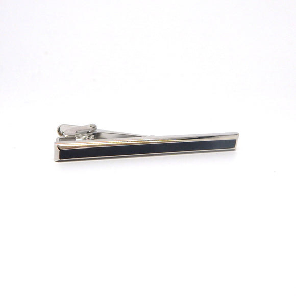 Rhodium Plated Onyx Tie Bar