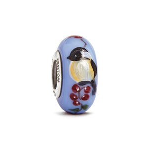 """Chicka-Dee-Dee-Dee"" Hand Decorated Glass Bead - Fenton Glass Jewelry"