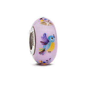 """TJ Bird"" Hand Decorated Glass Bead - Fenton Glass Jewelry"