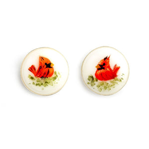 """Whispering Winds"" Hand Decorated Stud Earrings - Fenton Glass Jewelry"