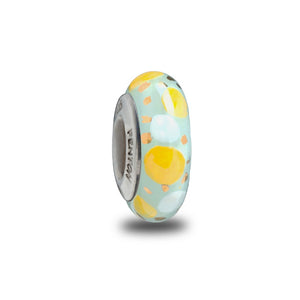 """Blue Confetti Pop"" Hand Decorated Spacer Bead"