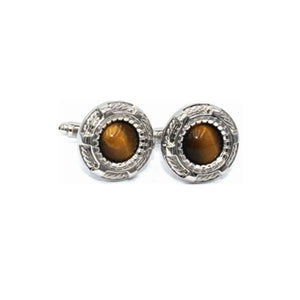 Tiger Eye Stone Circle Cufflinks