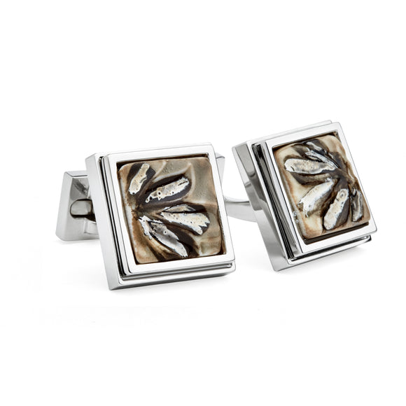Artisan Brushstroke Tan Ceramic Cufflinks