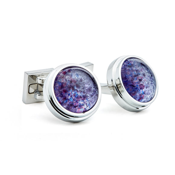 Artisan Purple & Blue Ceramic Cufflinks