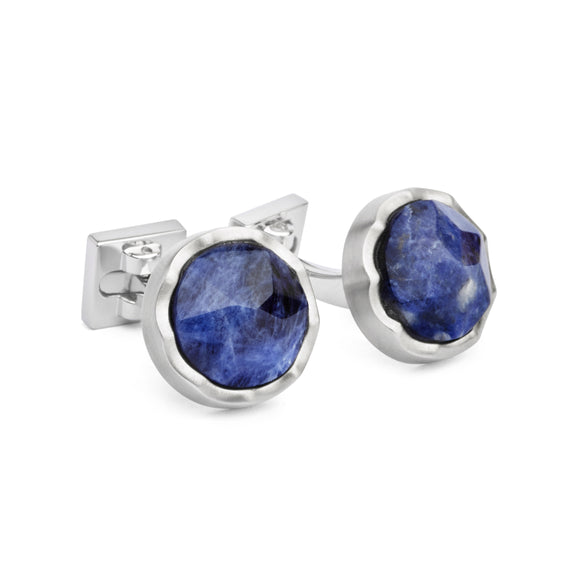 Dark Sodalite Faceted Circle Cufflinks