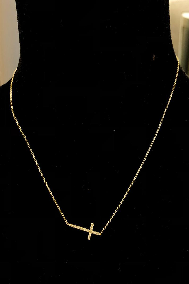 Crystal Cross Necklace - Gold