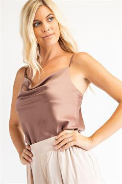 Sought After Satin Cowl Neck Top - Mushroom