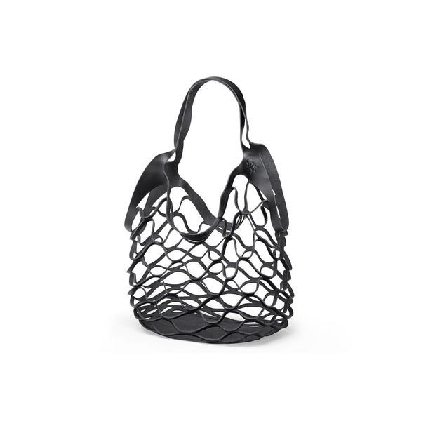One piece bag, veg. leather, black
