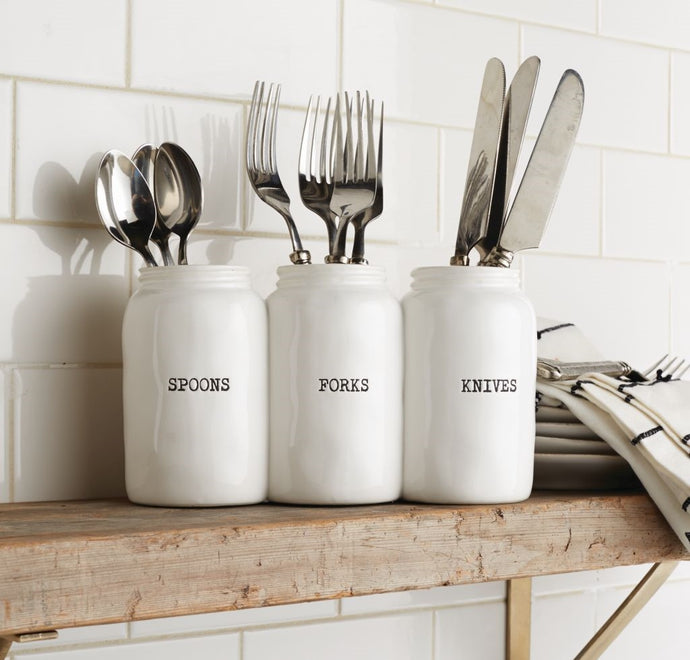 Triple Ceramic Jar Utensil Holder