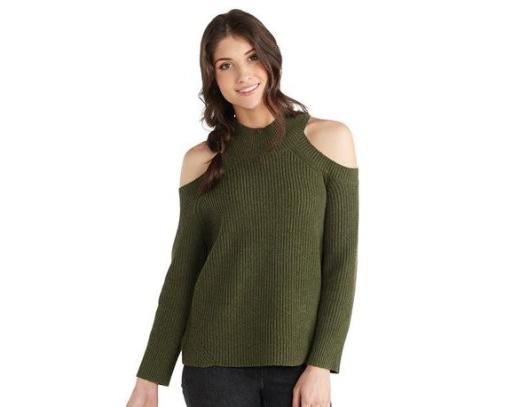 Madden Ribbed Cold-Shoulder Sweater in Olive