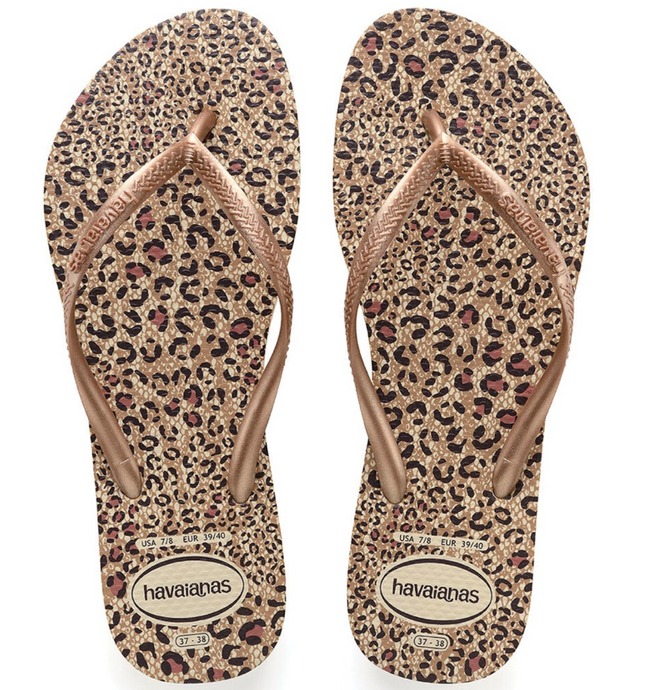 Havaianas Animal Print Rose Gold Flip Flops