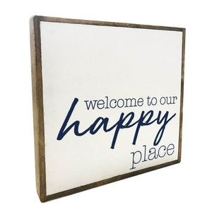 Rustic Marlin Welcome To Our Happy Place Vintage Square