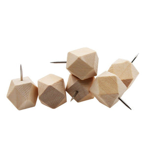 18pcs Geometric Wood Decorative Push Pins, Wood Head and Steel Needle Point Thumb Tacks for Photos, Maps and Cork Boards