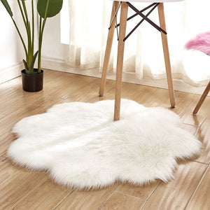 Flower Mat Faux Fur Sheepskin Rugs, Soft Shaggy Area Rug Home Decorative Bedroom Fluffy Carpet Rug