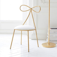Load image into Gallery viewer, Quality Metal Chair Fashion Nordic Bar Leisure Stool Modern Make Up Chair Dining Chair with Bow Shape Backrest with Foam Sponge
