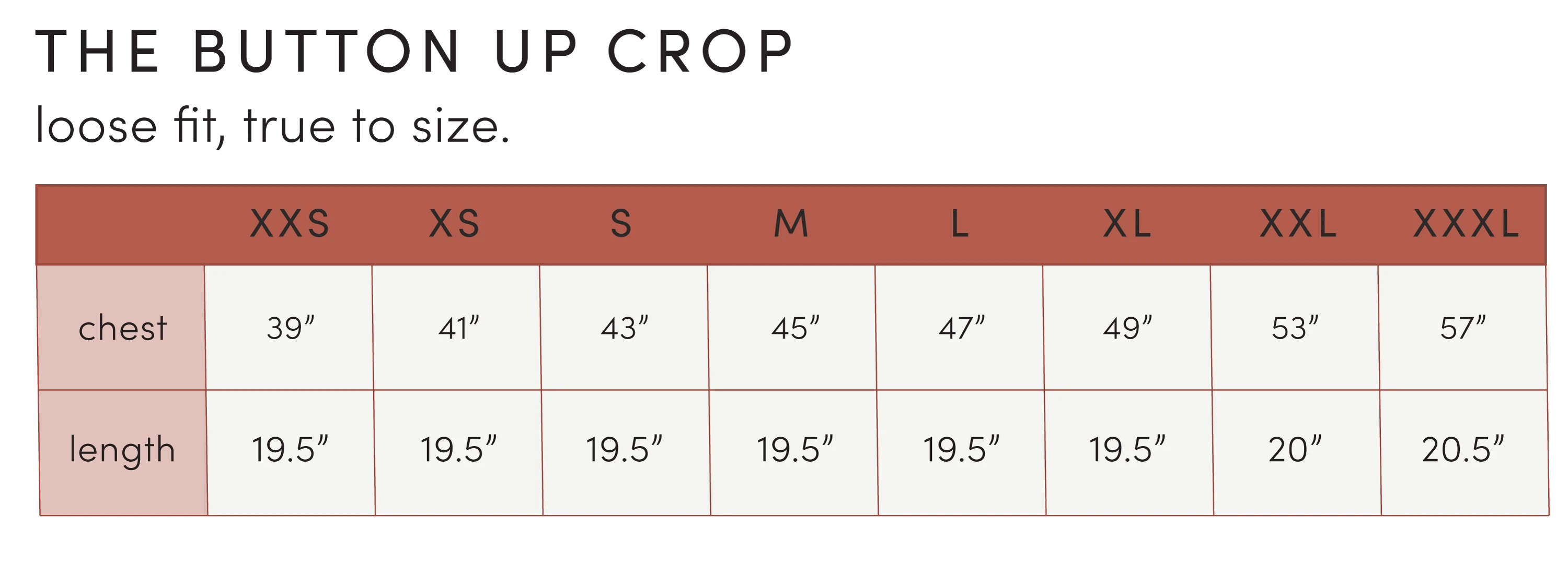 Button Up Crop sizing