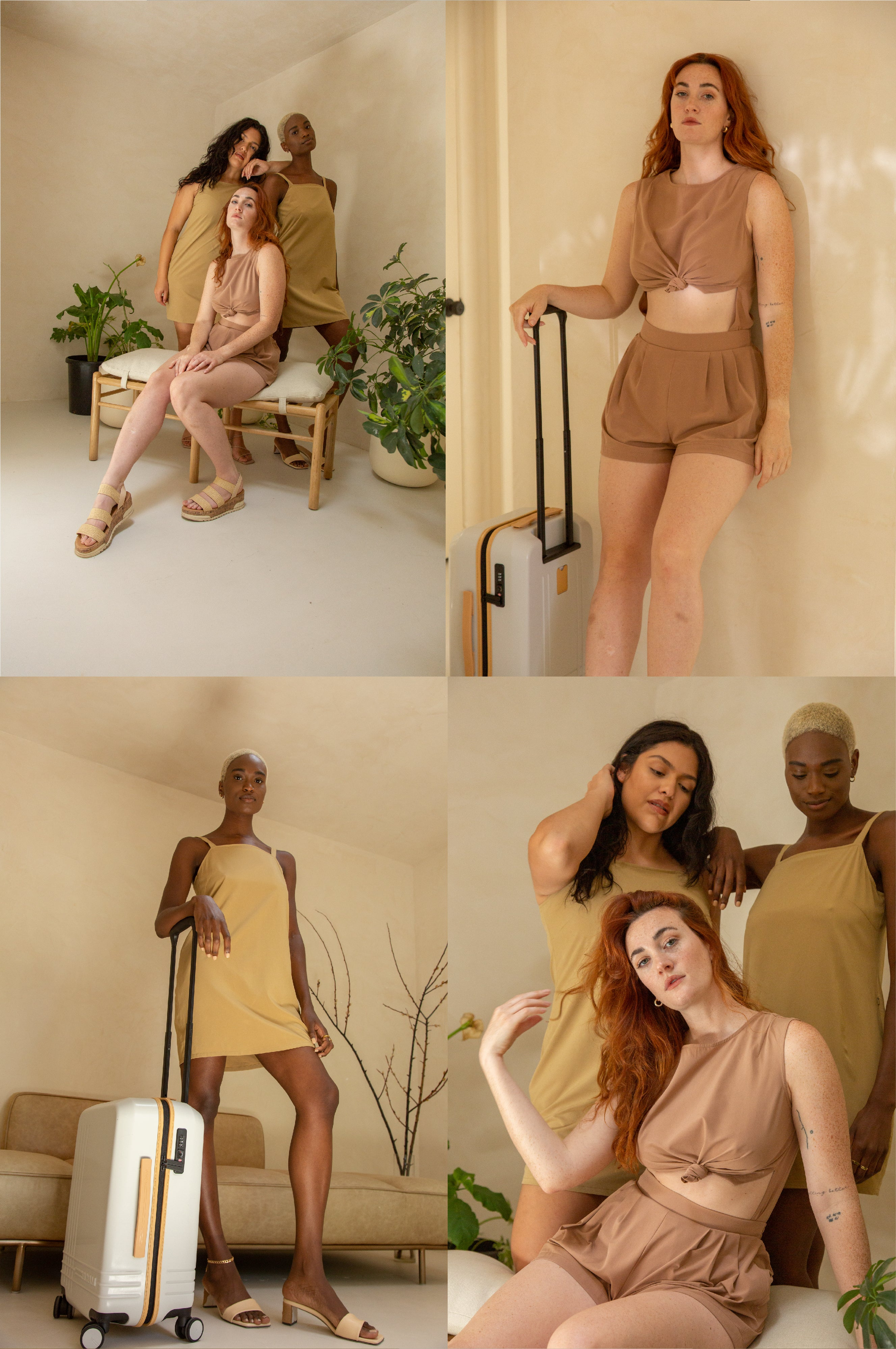 three women wearing rose water and sand wayre outfits in the iro house