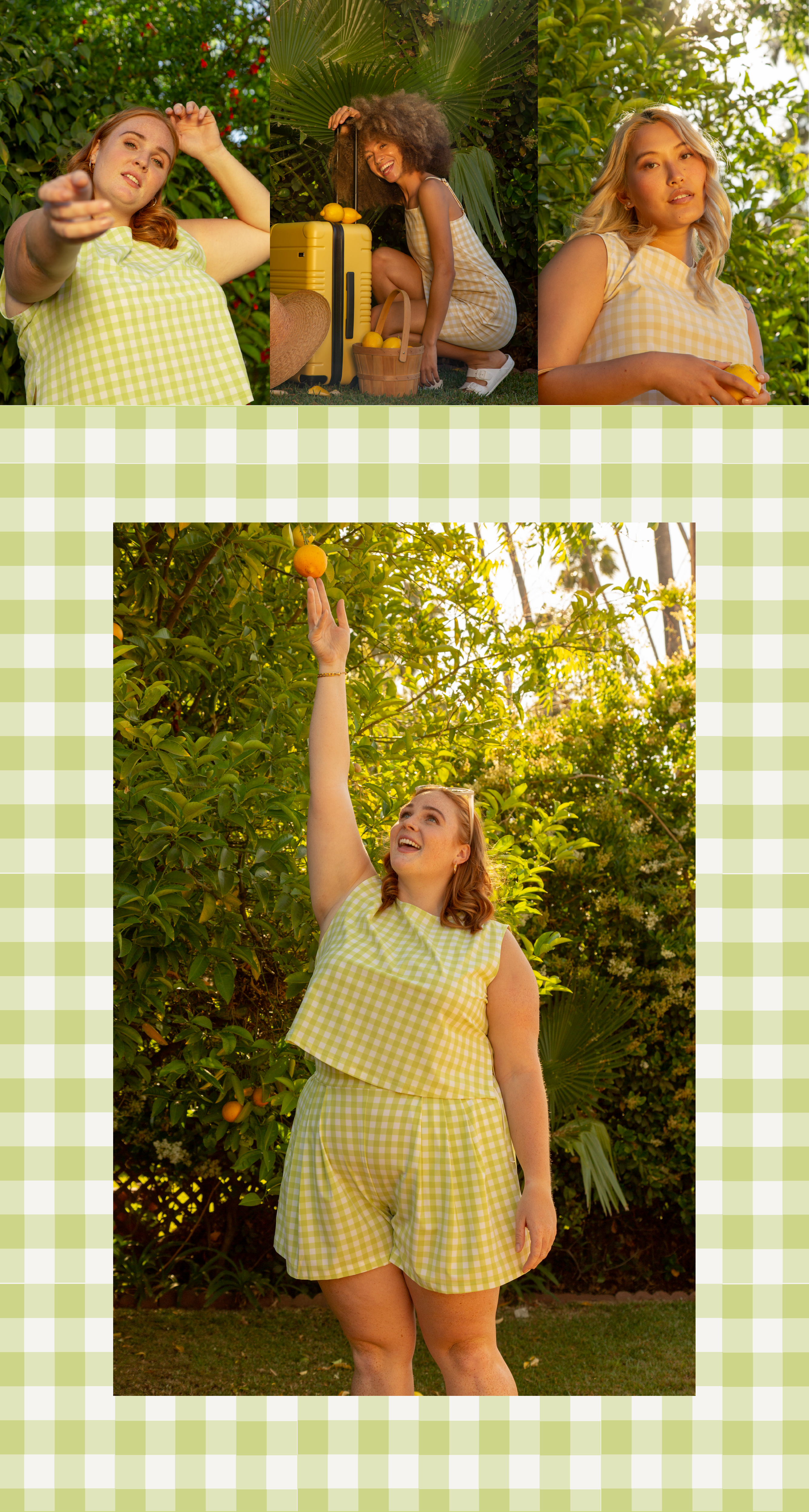women wearing the lemon and lime plaid collection from wayre overlayed on a lime plaid print pattern