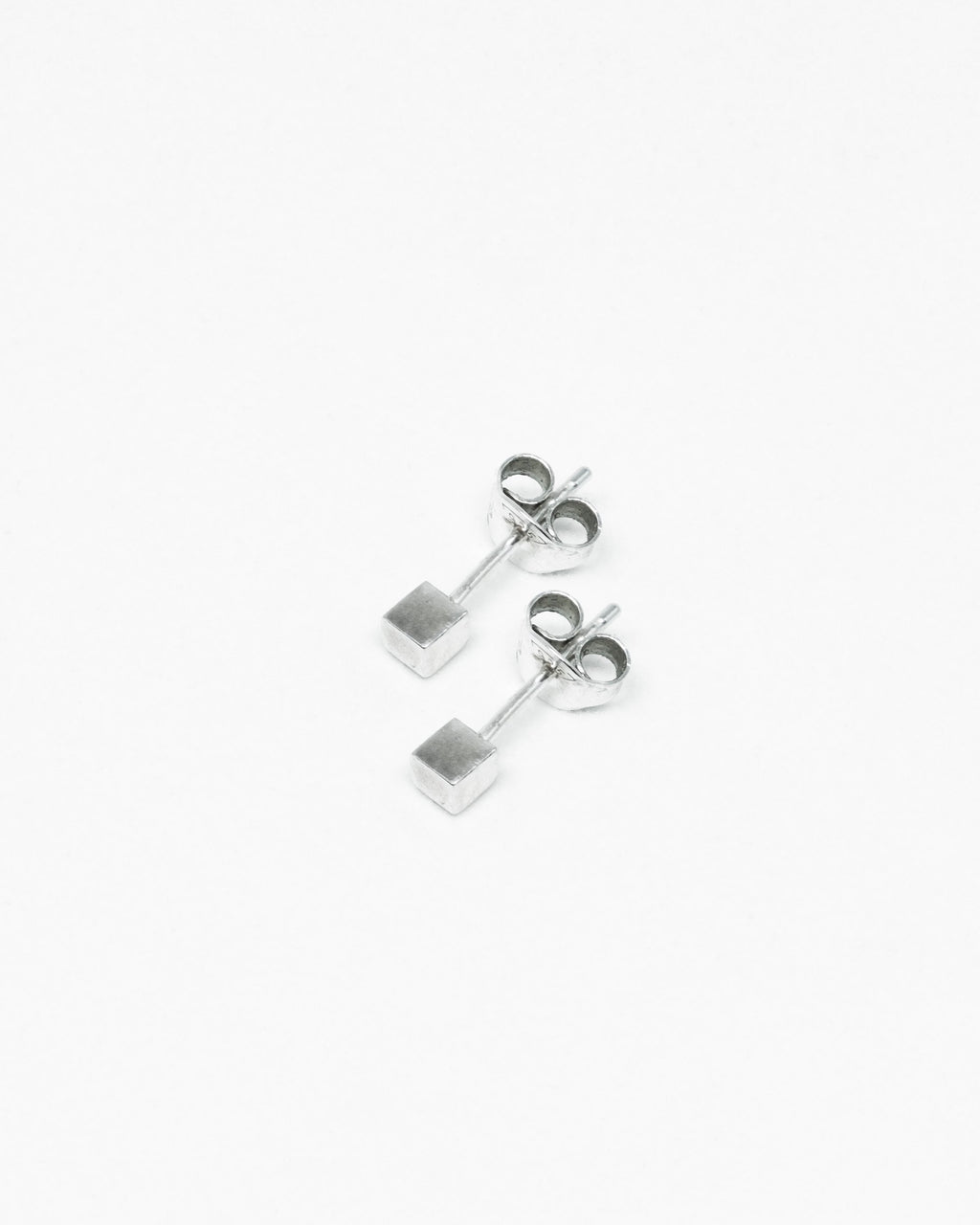 Box silver earrings