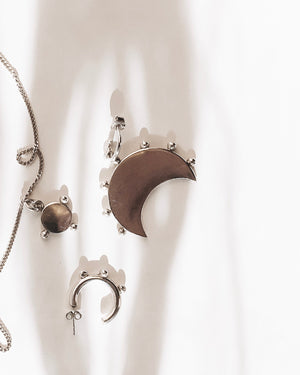 Big moon silver earrings