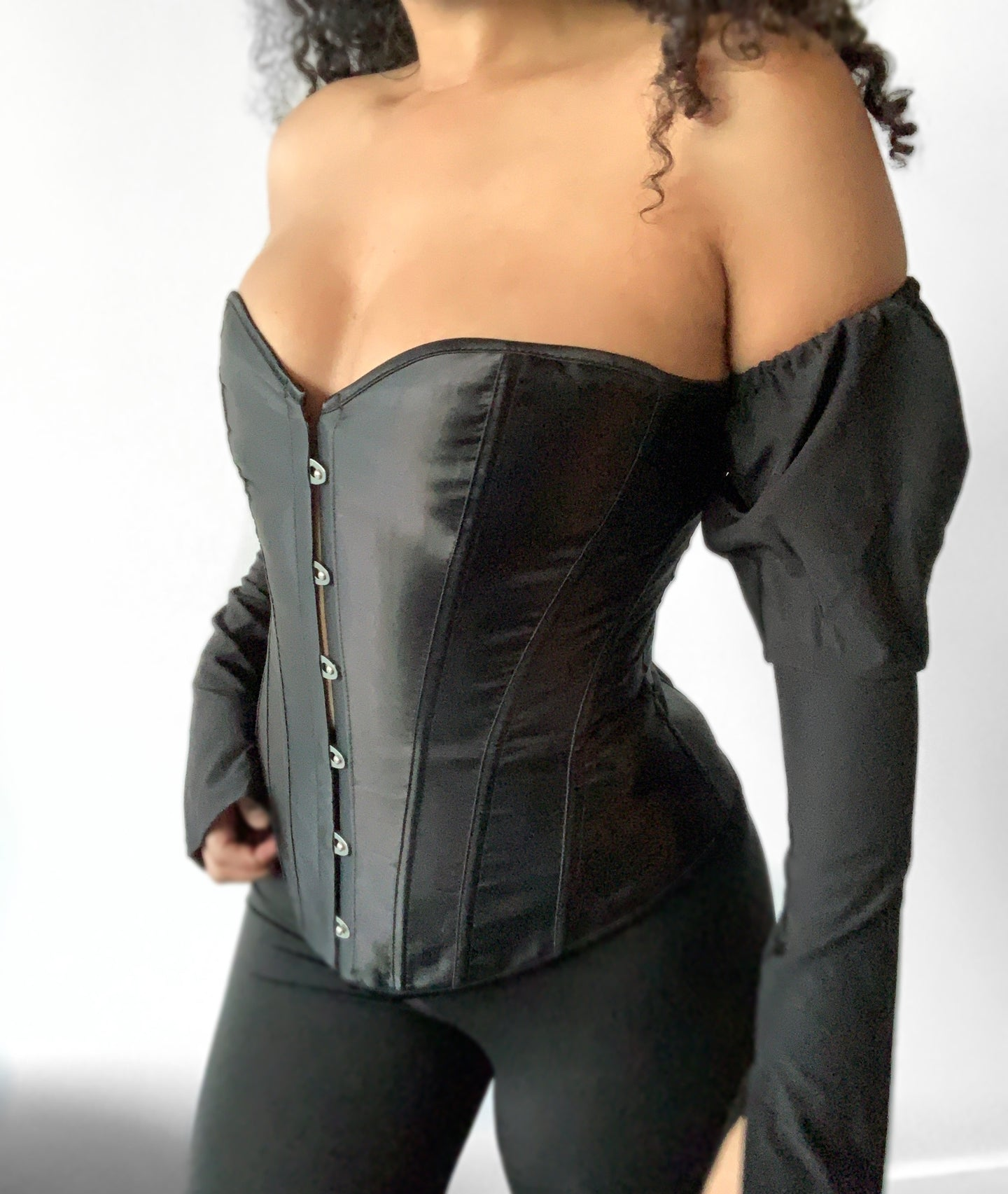 Black Satin Corset With Sleeves