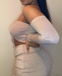 Pink Glitter Rouched Two Piece Dress
