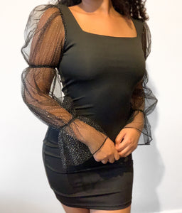 Glitter Sheer Sleeve Dress