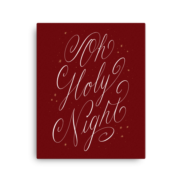 Oh Holy Night Canvas - Red