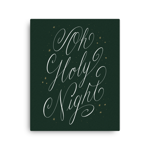 Oh Holy Night Canvas - Green