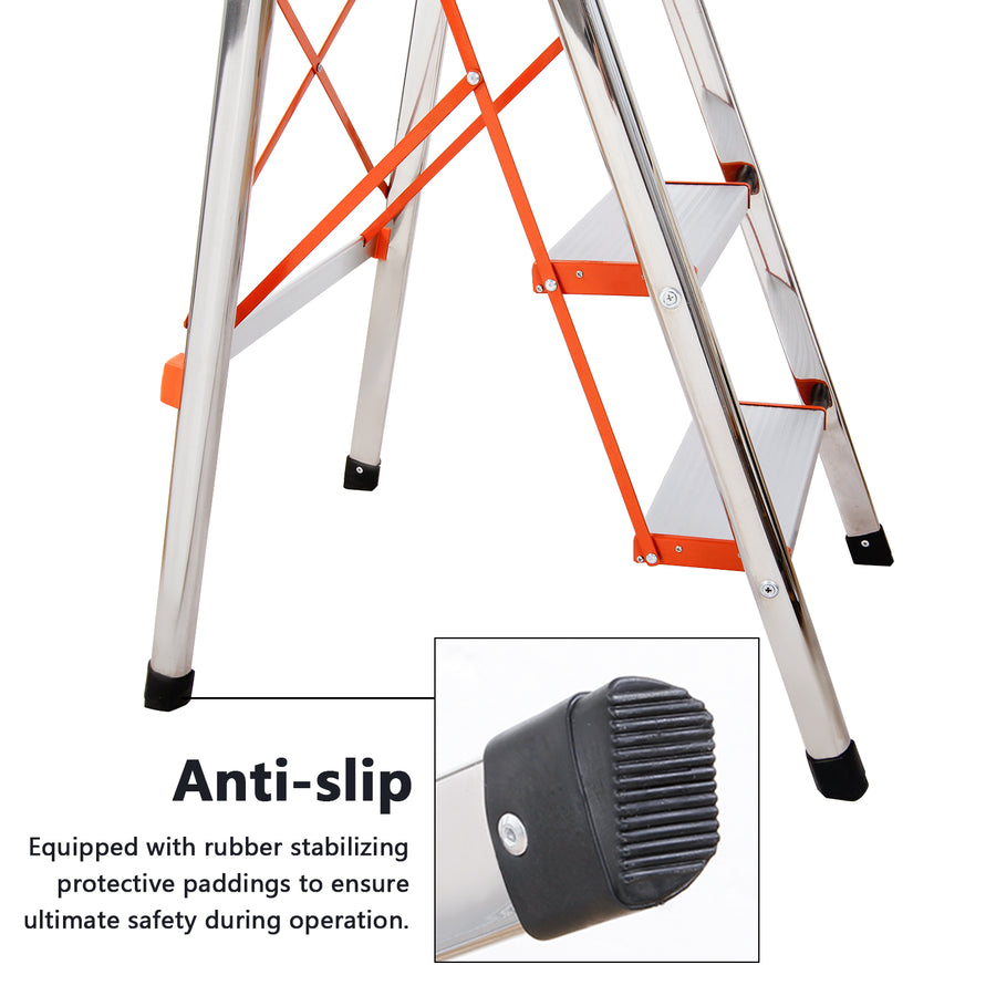 Lionladder 4-Step Stool Ladder Silver