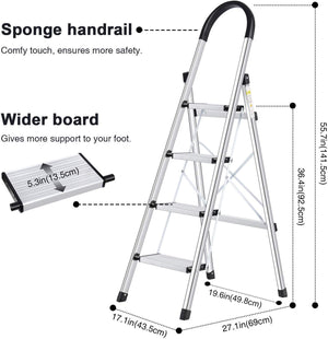 Lionladder Stepladder 4 Steps Black