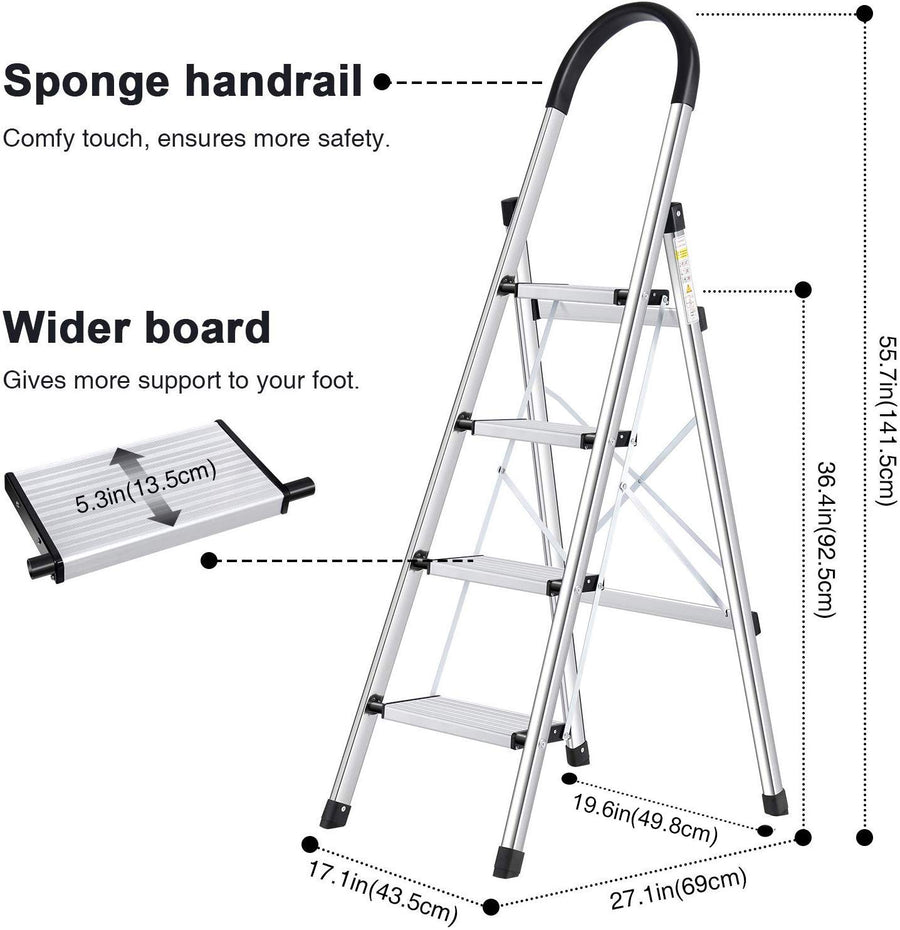 Lionladder 4 Step Stool Aluminum Ladder Black