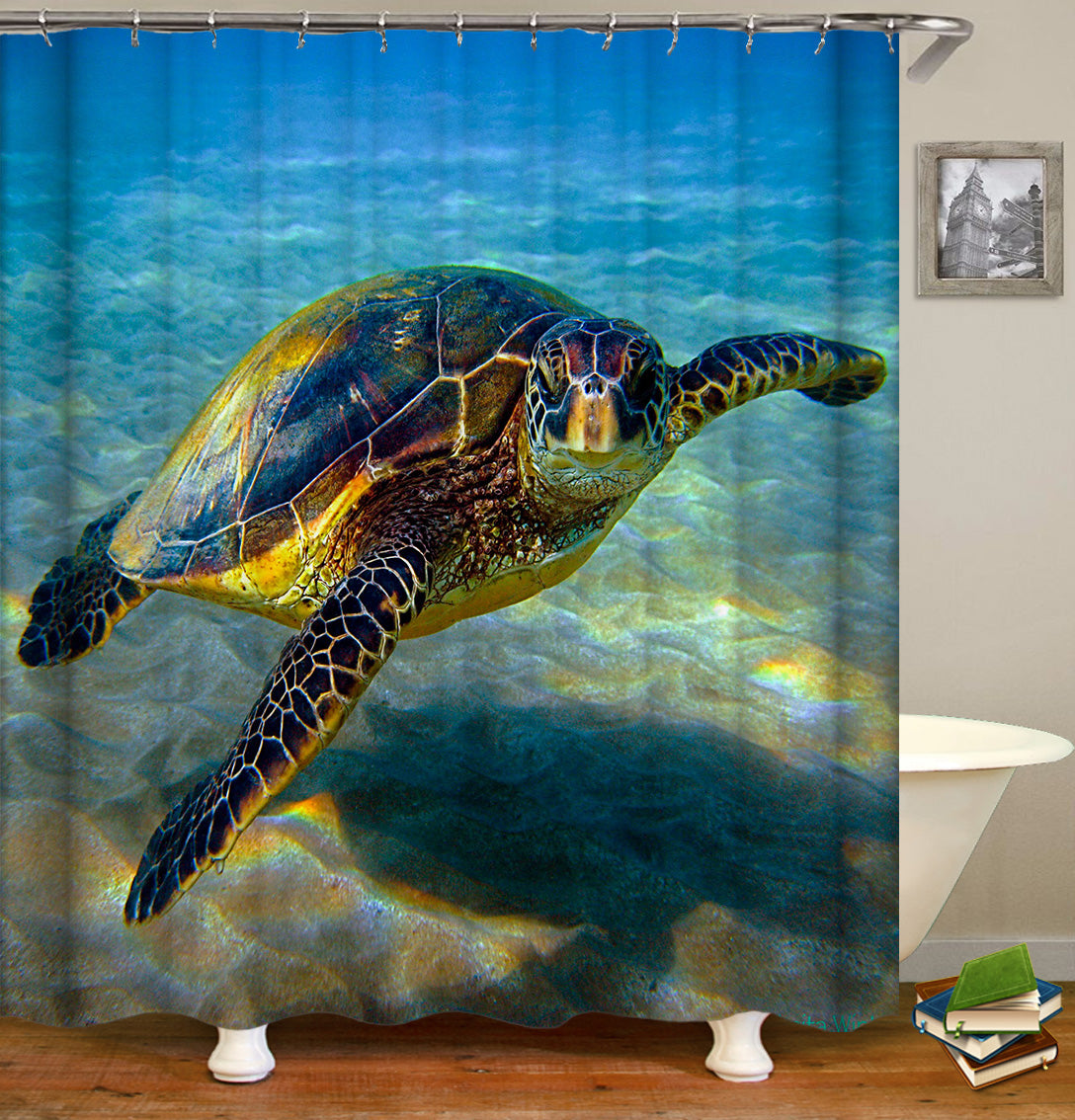 Sea Turtle Shower Curtains Fabric Cute Teal Polyester Cloth Print Bathroom Curtains Fabric Shower Curtains