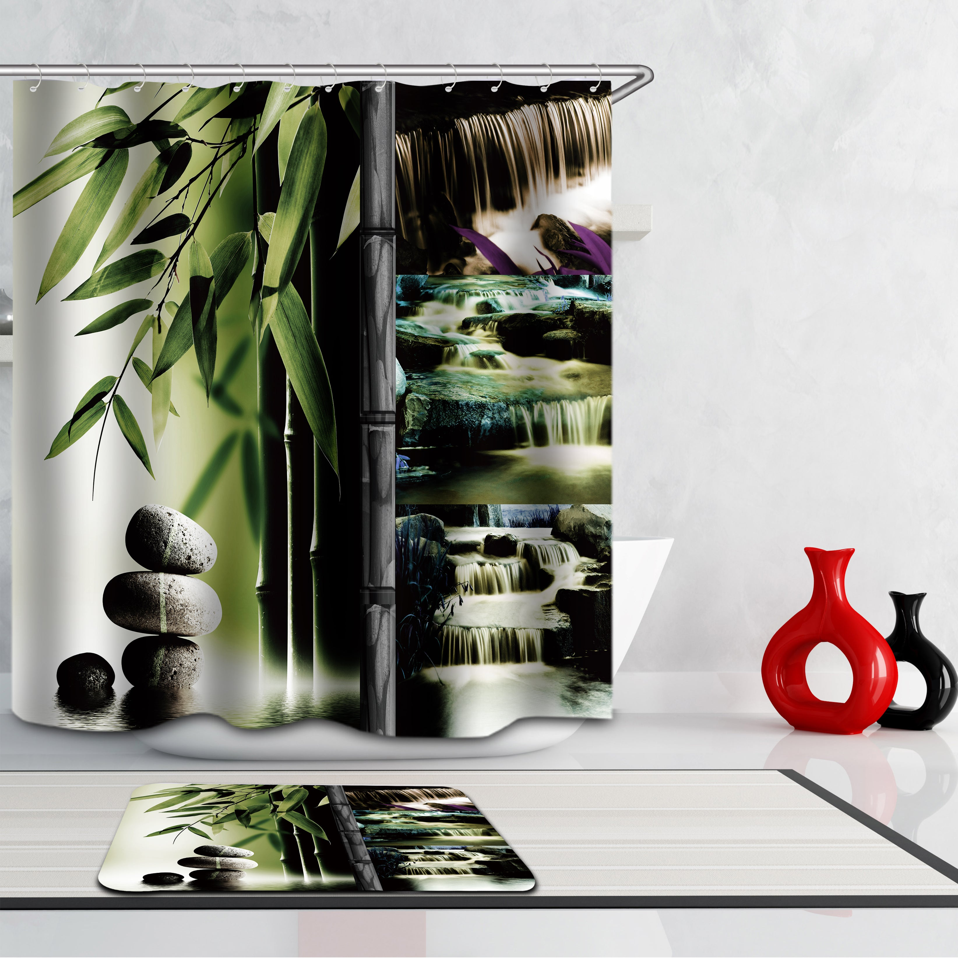 Bamboo Shower Curtains Fabric Funny Green Polyester Cloth Print Bathroom Curtains Fabric Shower Curtains