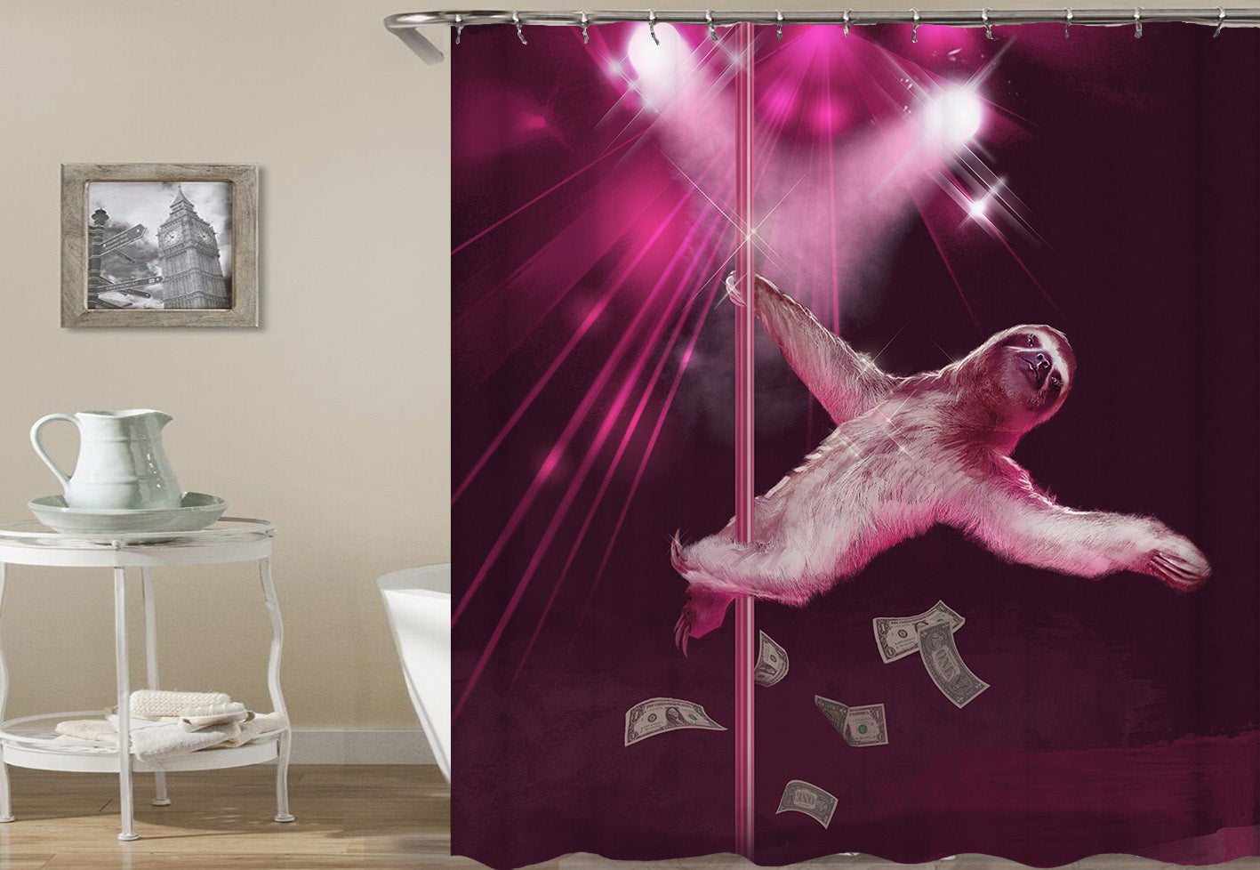 Acrobatics Shower Curtains Fabric Funny Purple Polyester Cloth Print Bathroom Curtains Fabric Shower Curtains