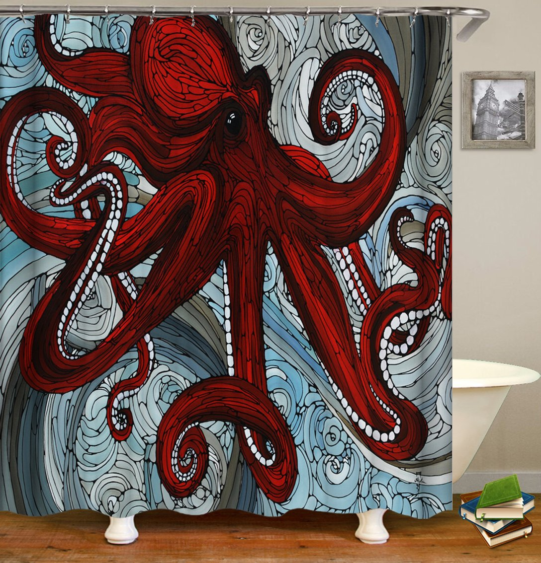 octopus shower curtains fabric cute red polyester cloth print bathroom curtains fabric shower curtains
